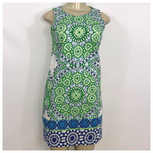 London Times Blue White & Green Print Dress Size 4